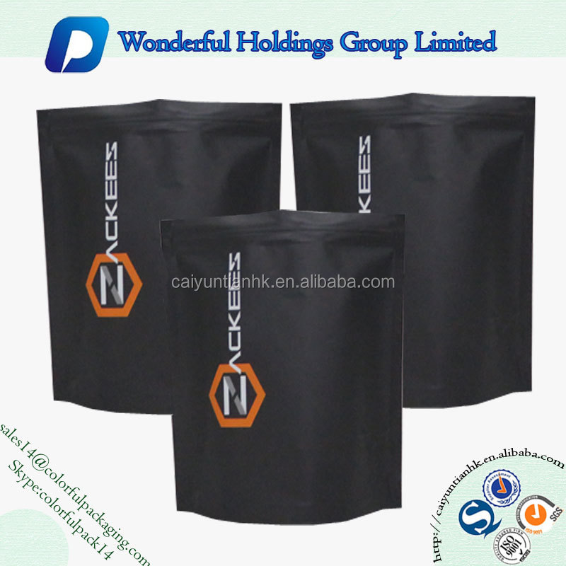 Clear super quality custom printing reusable colorful packaging bag black matte stand up pouch with zip lock