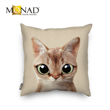 Comfortable cute animals dog cat latest design 3d linen cushion cover