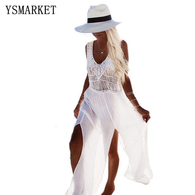 YSMARKET Summer Chiffon Sexy Beach Dress Sleeveless bikini cover up Boho White Dress Irregular Hollow Out Women Long Maxi Dress