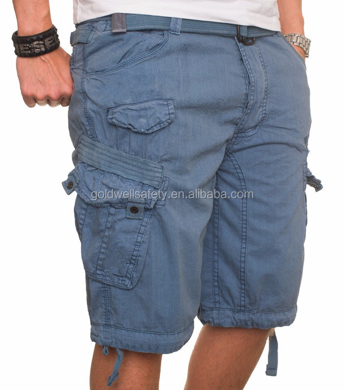 Mens Patch Pocket Chino 6 Pocket 3/4 Cargo Shorts