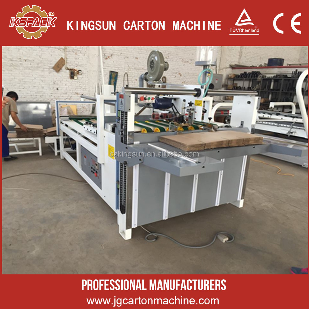 paperboard folding gluing machine/carton box semi auto folder gluer