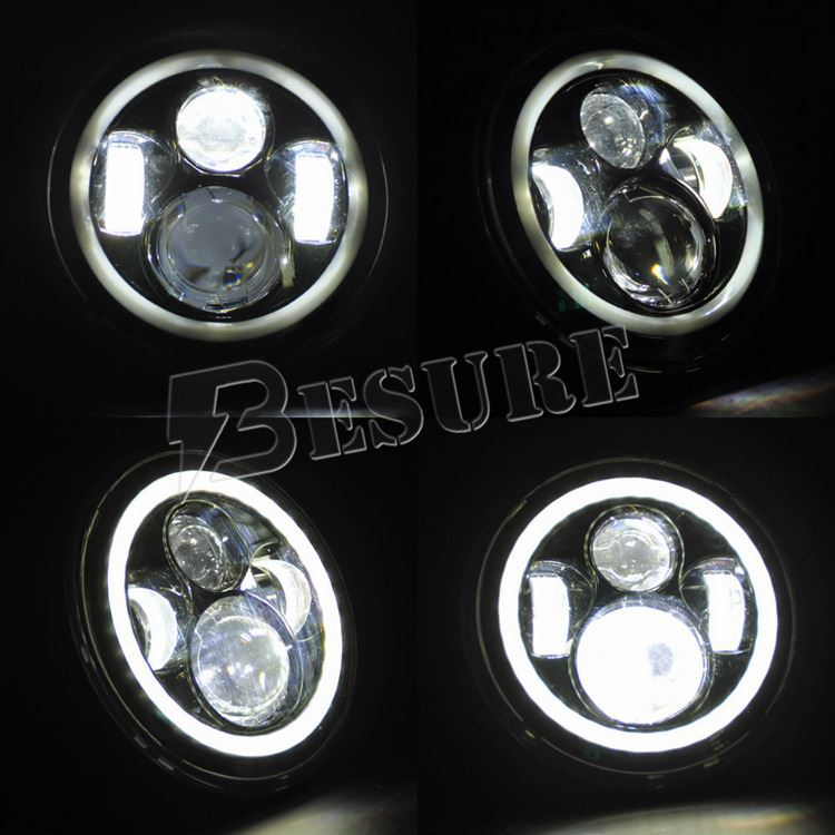 7 Inch LED Headlight with Halo Ring H4/HB2/9003 Headlamp H13/9008 LED Head Light for Wrangler
