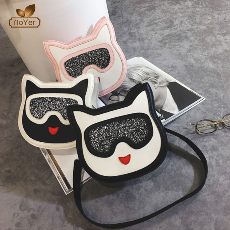 Hot selling stylish sequin bag clutch pu leather cute lady cat shape mini shoulder bag