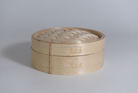 Natural mountain bamboo steamer with lid