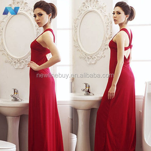 2014 Hot Sell ! New Women V Neck Backless Dresses Prom Gown Evening Cocktail Party Sexy Long Maxi Dress Red Purple Blue