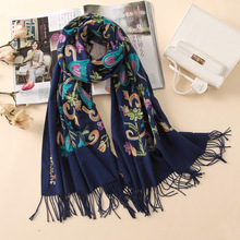 2017 designer quality embroidery cashmere scarves vintage winter women scarf long size shawls