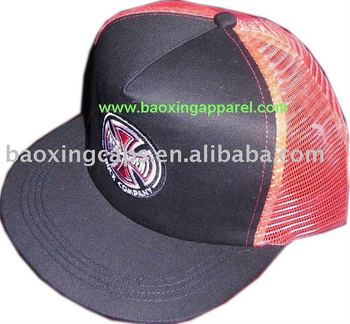 trucker mesh baseball cap with flat visor
