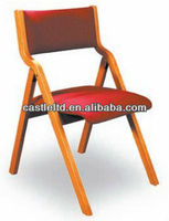 Foldable padded contoured back chair,red-fabric seat cusion & back cuision chair,solid wooden foldable chapel chair