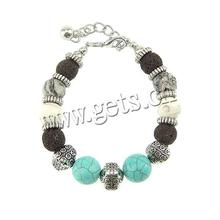 14mm With Turquoise & Gemstone & Copper Coated Plastic Lava Beads Necklace