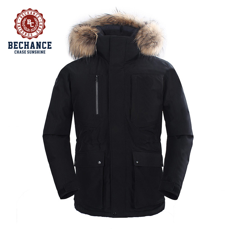 mens black outdoor down coat winter coat with fur from down jacket factory