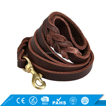 Personalized Six Foot Heavy Duty Training Genuine Leather Dog Leash