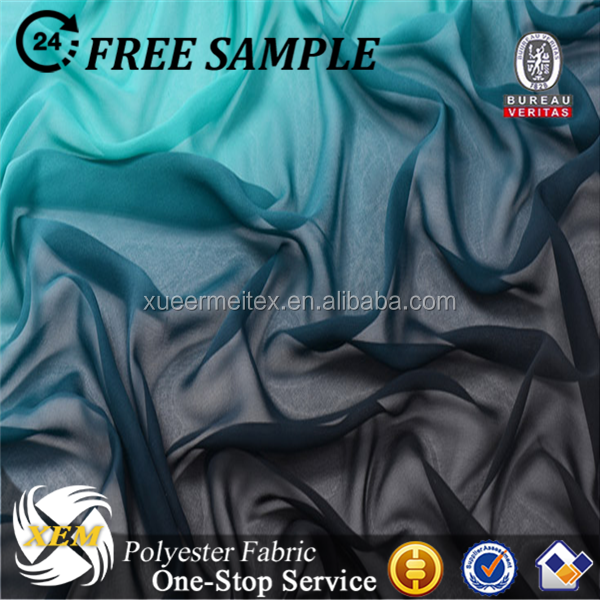 Beauty ombre chiffon fabric for fashional dress dyed chiffon fabric