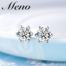 Meno 925 silver stud lady gift fashion earrings six prongs