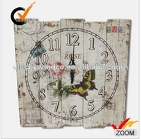 French aged colored rectangular butterfly and flower shabby n chic promotional wall clock for kitchen wall hanging