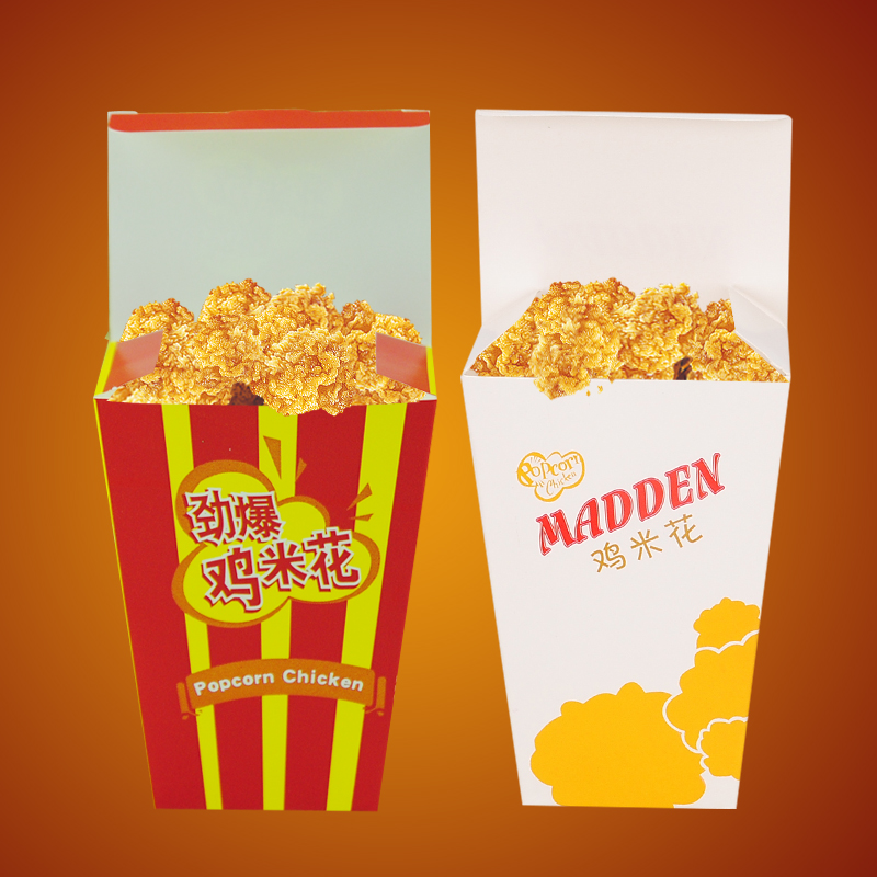disposable Foldable paper food box for fast food chicken popcorn snack take away restaurant wholesale