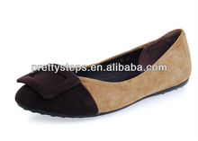 Pretty Steps 2013 fashion latest design brown women ladies flat shoes from Guangzhou China