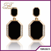 alibaba wholesale fashion jewellery for women black earring plated gold