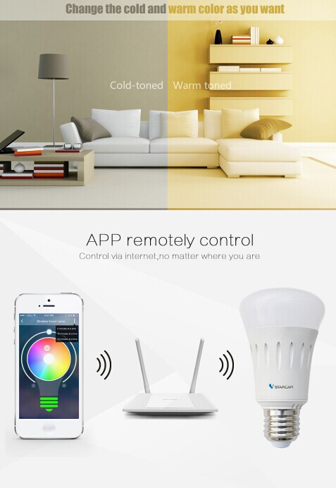 2016 Vstarcam Wifi Remote Control 6W 20 million colors IOS Android APP led wifi light bulb