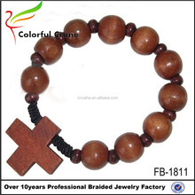 Manufacturer wholesale beads agarwood bracelet with cross charm
