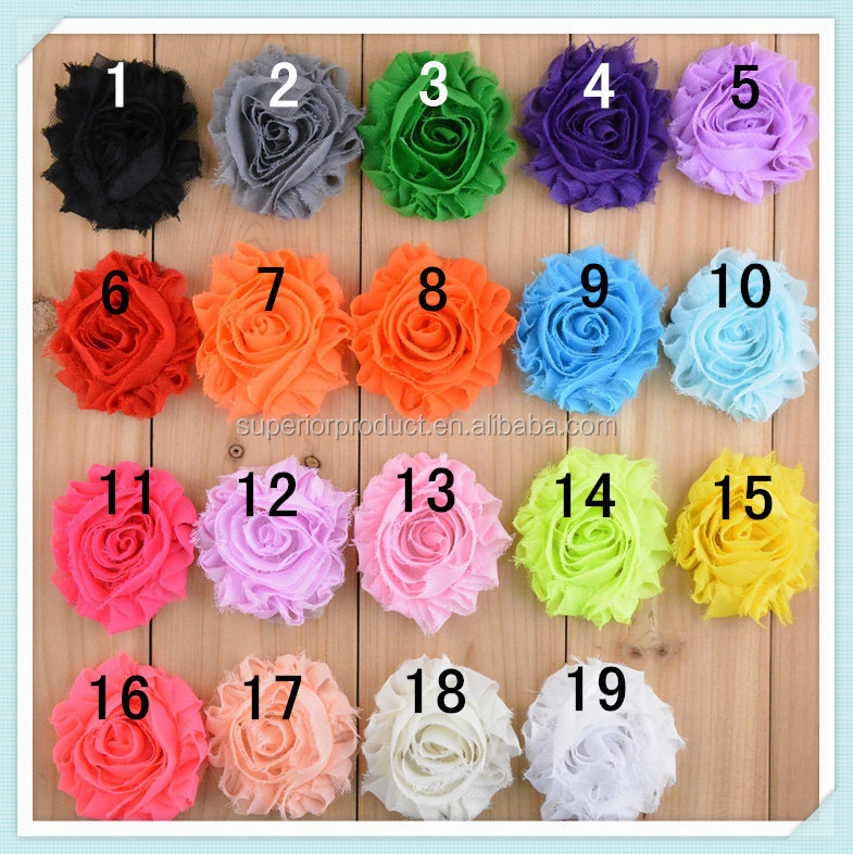 Wholesale solid shabby chiffon flower frayed shabby chic flowers shabby rose trim lovely rosette chiffon shabby