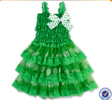 Latest Fashion Cheap Kids Pageant Dresses European Style St. Patrick's Lace Layered Dresses Little Girls Princess Party Dress