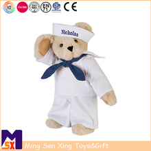 High quality custom stuffed peluches army uniform teddy bear with movable arms and legs