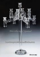 Jinhua 83cm Tall 9 Arms Hanging Crystal Wholesale Candelabras Wedding (BS-CH053)