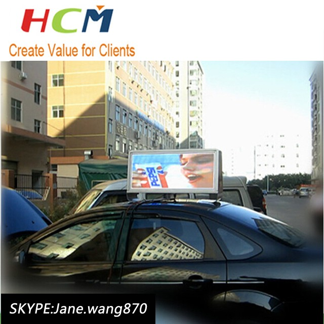 Popular design led taxi top advertising led screen for cars
