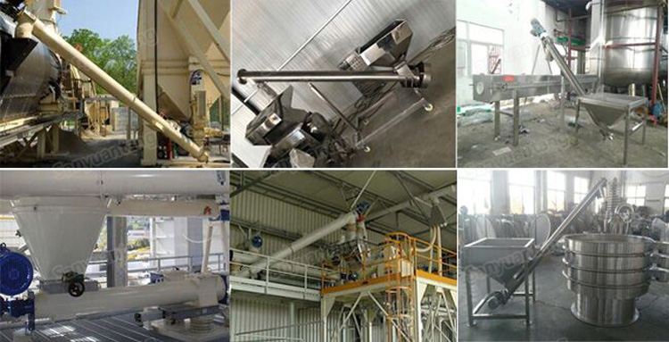 Inclined screw auger conveyor for food