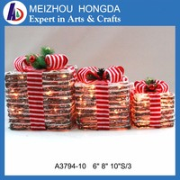 Best price wholesale rattan christmas decoration gift box led light