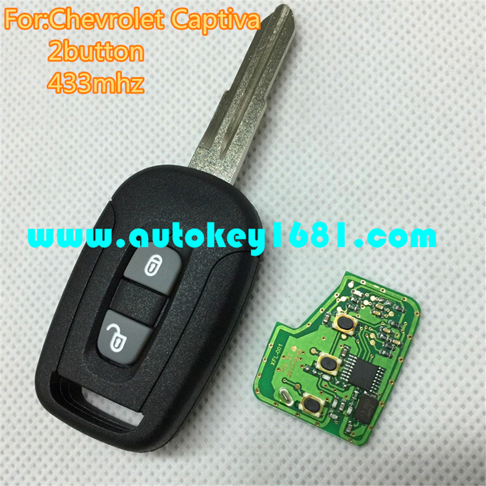 MS car key 2 button remote control 433mhz with ID46 transponder chip for car chevrolet captiva
