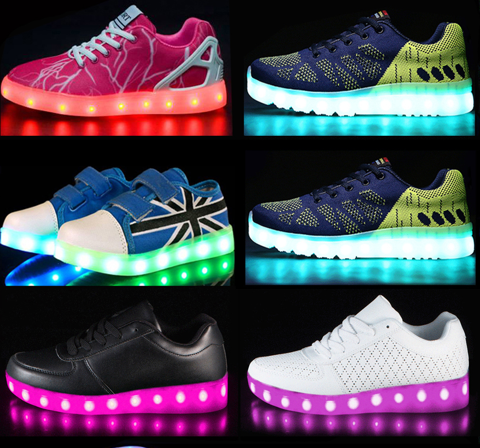 Rainbow Color Flashing Changing Led Kids yeezy Light Shoes