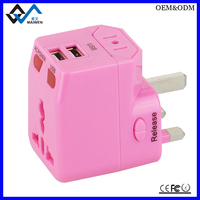 Promotional Gift LOGO Printed Universal Power Adapter Travel Plug AUS EU UK With Dual USB
