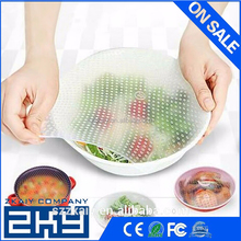 Silicone Food Seal Cling Film Vacuum Keep Food Fresh Plastic Wrap Preservative Film For Refrigerator Cooking Sets Siliocne Lid
