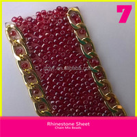 Hotfix Rhinestone Chain 2mm Red Beads with Holes mix Gold Chain