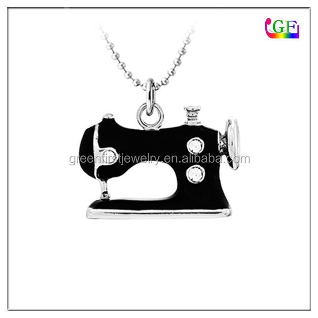 Crystal Silver Black Sewing Machine Pendant necklace