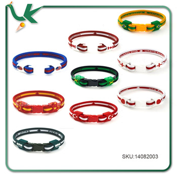 Soccer Team Flag Silicone Wristband