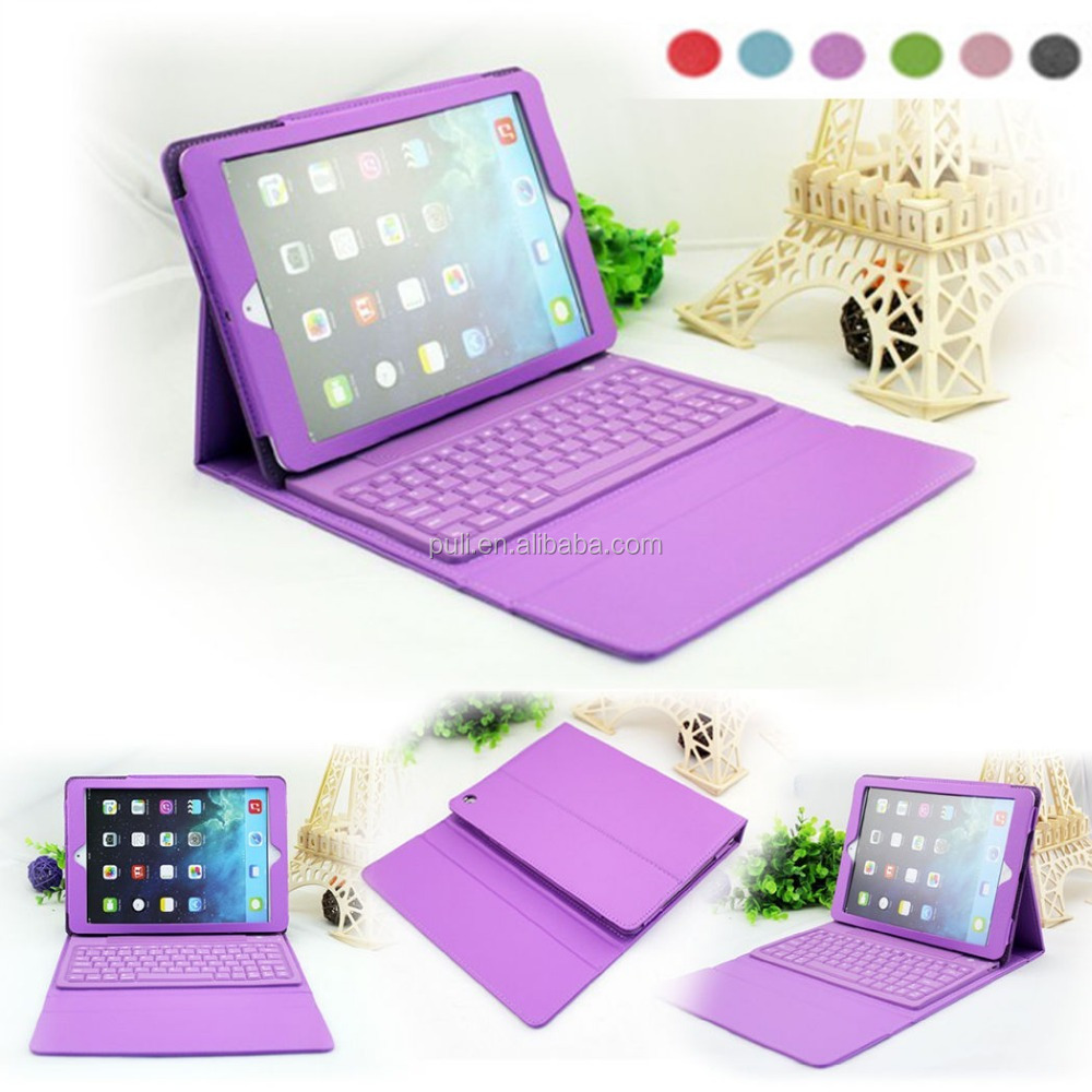 Removable wireless mini keyboard rechargeable holder case leather case cover for 2017 new iPad