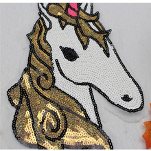 2018 New Design Fashion Custom Patch Horse Unicorn Sequin Embroidery Applique Patch Sew or Iron On Patch