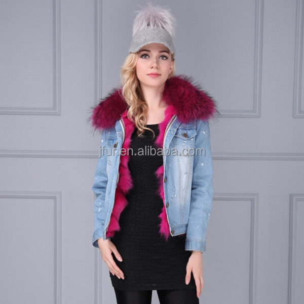 new design ladies Jeans Luxury Fox Fur hood women winter jacket with raccoon fur collar