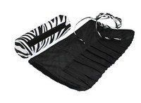 Large Capacity Zebra Roll Up Brush Cosmetic Bag CT1161