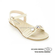 Chaoan manufactory upper rhinestone design ankle buckle latest fashion flat summer sandals