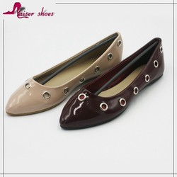 SSK16-622 China import high quality fashion women flat shoes western leather matching ladies pointed shoes