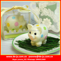 White Pig Colorful Dots Chinese Art Candles For Sale