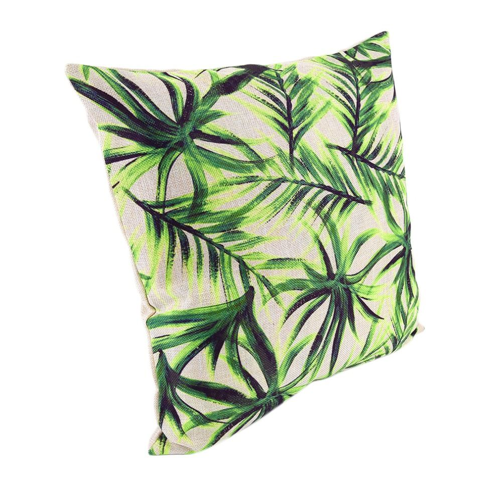 9 Types High Quality Beautiful Tropical Plants Floral Printed Cotton Linen Pillow Cover Home Chair Cushion Decorative Cover
