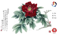 Hot peony wall decor painting large wall decor painting on silk base material