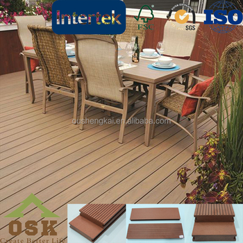 Grooved WPC decking flooring for garden and swimming pool