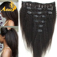 Afro Kinky Straight Italian Coarse Yaki Brazilian Virgin Hair and Clip-In on Hair Type clip in hair extension full head set