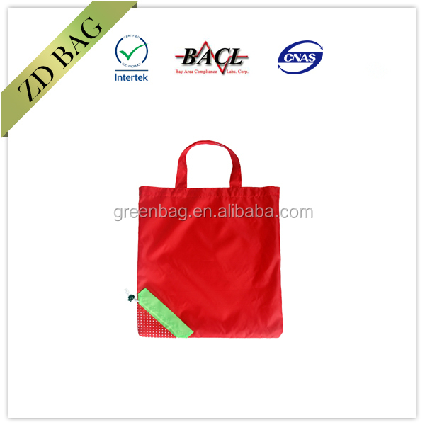 cheap fold up shopping bag with small drawstring pouch