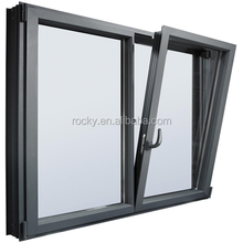 Aluminium profile wood finish tilt and turn open side hung window